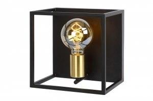 wandlamp 13336 modern retro art deco metaal zwart mat goud messing vierkant