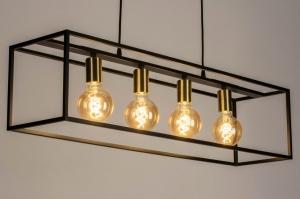 hanglamp 13337 industrie look modern art deco messing geschuurd metaal zwart mat goud mat messing langwerpig rechthoekig