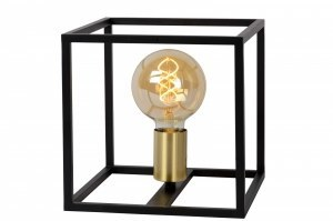 tafellamp 13338 modern retro art deco metaal zwart mat goud messing vierkant
