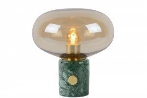Tischleuchte 13344 modern Retro Klassisch zeitgemaess klassisch Art deco Glas zart gelb Messing Marmor Gruen Gold Matt Messing rund