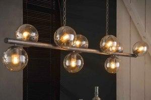 hanglamp 13364 industrie look landelijk rustiek modern stoer raw retro glas helder glas metaal zilver  oud zilver langwerpig