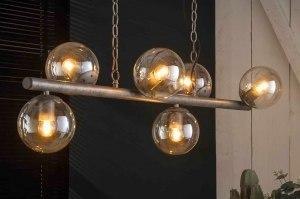 hanglamp 13365 industrie look landelijk rustiek modern stoer raw retro glas helder glas metaal zilver  oud zilver langwerpig