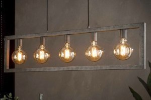 hanglamp 13366 industrie look landelijk rustiek stoer raw metaal zilver  oud zilver langwerpig rechthoekig
