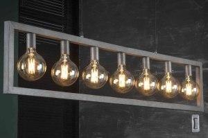 hanglamp 13367 industrie look landelijk rustiek stoer raw metaal zilver  oud zilver langwerpig rechthoekig