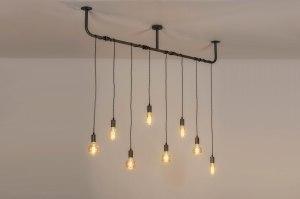 hanglamp 13368 industrie look design landelijk rustiek modern stoer raw metaal grijs zilver  oud zilver langwerpig
