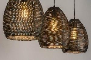 hanglamp 13369 industrie look landelijk rustiek modern stoer raw metaal zwart roest bruin brons bruin langwerpig