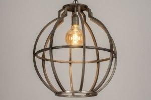 hanglamp 13370 industrie look landelijk rustiek stoer raw eigentijds klassiek metaal zilver  oud zilver staalgrijs rond