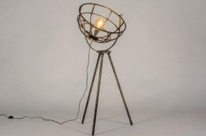 vloerlamp 13371 industrie look landelijk rustiek modern stoer raw metaal zilver  oud zilver staalgrijs rond langwerpig
