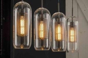 hanglamp 13372 industrie look modern glas helder glas metaal zilver  oud zilver langwerpig