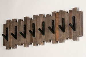 kapstok 13373 industrie look landelijk rustiek stoer raw hout zwart bruin langwerpig rechthoekig