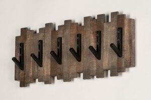 kapstok 13374 industrie look landelijk rustiek stoer raw hout zwart bruin langwerpig rechthoekig