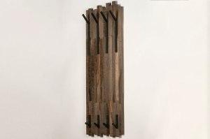 kapstok 13375 industrie look landelijk rustiek stoer raw hout zwart bruin langwerpig rechthoekig