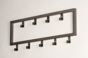 kapstok 13377 industrie look landelijk rustiek modern metaal grijs zilver  oud zilver oldmetal (gunmetal) langwerpig rechthoekig