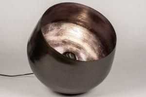tafellamp 13379 industrie look modern stoer raw metaal nikkel zwart grijs bruin rond