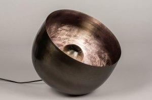 tafellamp 13380 industrie look modern stoer raw metaal nikkel zwart grijs bruin rond