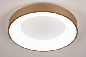 plafondlamp 13448 modern eigentijds klassiek art deco messing geschuurd kunststof metaal wit goud messing rond
