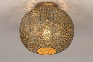 plafondlamp 13463 landelijk rustiek modern eigentijds klassiek metaal wit grijs goud rond