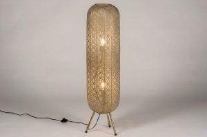 vloerlamp 13465 modern eigentijds klassiek metaal wit grijs goud rond langwerpig