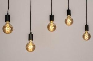 hanglamp 13469 industrie look modern metaal zwart mat langwerpig rechthoekig