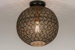 plafondlamp 13473 modern eigentijds klassiek metaal zwart mat goud rond