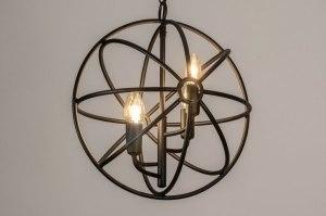 hanglamp 13495 sale landelijk rustiek modern metaal zwart mat rond