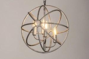 hanglamp 13496 sale landelijk rustiek modern metaal zilver  oud zilver rond