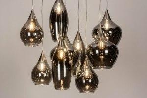hanglamp 13511 modern eigentijds klassiek art deco glas staal rvs grijs bruin staalgrijs rond