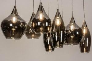 hanglamp 13512 modern eigentijds klassiek glas staal rvs grijs bruin staalgrijs rond langwerpig rechthoekig