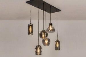 hanglamp 13513 modern eigentijds klassiek glas metaal zwart mat