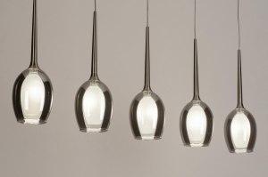 Pendelleuchte 13514 modern zeitgemaess klassisch Glas mit Opalglas Edelstahl grau braun stahlgrau rund laenglich