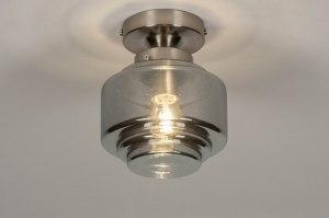plafondlamp 13516 modern eigentijds klassiek art deco glas staal rvs grijs bruin staalgrijs rond