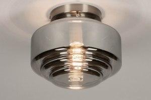 plafondlamp 13517 modern retro eigentijds klassiek art deco glas staal rvs grijs bruin staalgrijs rond