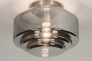 plafondlamp 13518 modern eigentijds klassiek art deco glas staal rvs grijs bruin staalgrijs rond