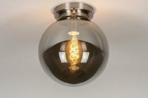 plafondlamp 13519 modern retro eigentijds klassiek art deco glas staal rvs grijs bruin staalgrijs rond