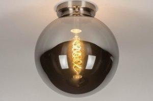 plafondlamp 13520 modern retro eigentijds klassiek art deco glas staal rvs grijs bruin staalgrijs rond