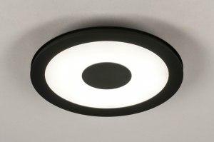 plafondlamp 13521 modern kunststof metaal zwart mat rond