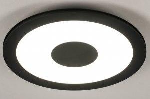 plafondlamp 13523 modern kunststof metaal zwart mat rond