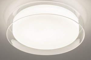 plafondlamp 13525 modern glas wit opaalglas helder glas wit rond
