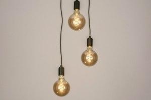 hanglamp 13532 landelijk rustiek modern metaal zwart mat rond