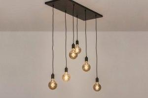 hanglamp 13533 industrie look modern metaal zwart mat rechthoekig