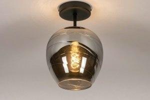 plafondlamp 13534 modern retro eigentijds klassiek art deco glas metaal zwart mat grijs rond