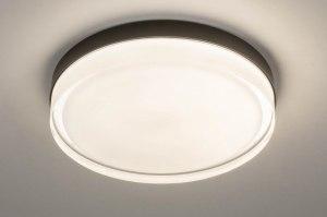 plafondlamp 13549 modern eigentijds klassiek glas wit opaalglas helder glas metaal zwart mat rond