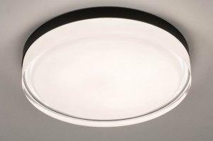 plafondlamp 13551 modern eigentijds klassiek glas wit opaalglas helder glas metaal zwart mat rond
