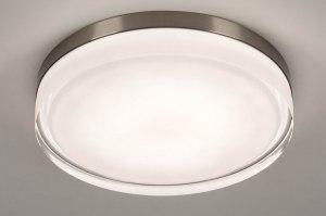 plafondlamp 13552 modern eigentijds klassiek glas wit opaalglas helder glas staal rvs metaal staalgrijs rond