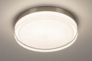 plafondlamp 13561 modern eigentijds klassiek glas wit opaalglas helder glas staal rvs metaal staalgrijs rond