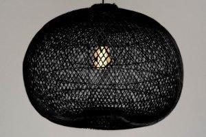 hanglamp 13568 modern retro riet zwart rond