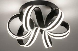 plafondlamp 13587 modern aluminium zwart mat rond