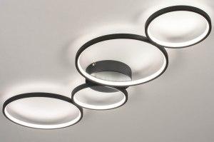 plafondlamp 13589 modern aluminium metaal zwart mat rond