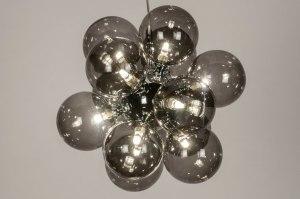 hanglamp 13590 modern retro eigentijds klassiek art deco glas metaal grijs chroom rond