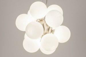 hanglamp 13591 modern retro eigentijds klassiek art deco glas wit opaalglas staal rvs wit mat staalgrijs rond